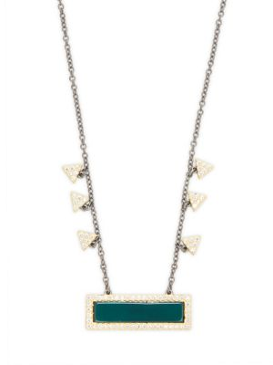 Freida Rothman  GEOMETRIC GREEN AGATE AND STERLING SILVER PENDANT NECKLACE