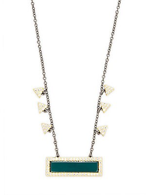 Geometric Green Agate and Sterling Silver Pendant Necklace