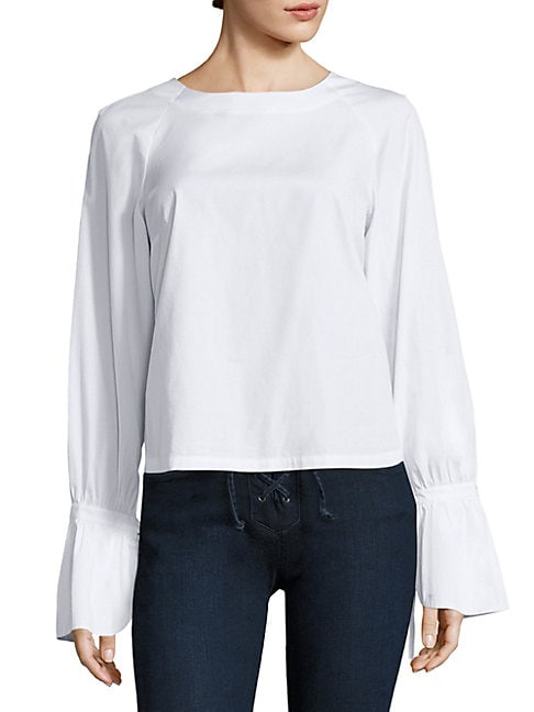 Cotton Poplin Bell Sleeve Blouse