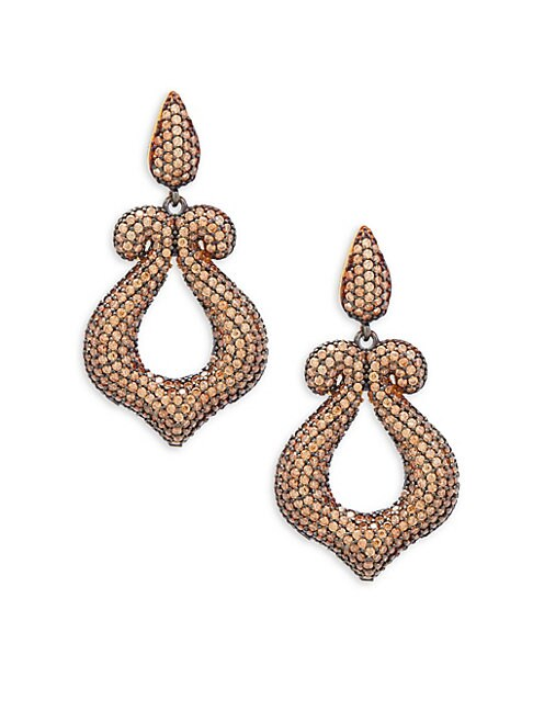 AZAARA | Crystal and Sterling Silver Scroll Drop Earrings | Goxip