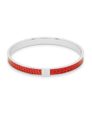 HERMÏ S Vintage Red Silver Liz Kawai Enamel Bangle Bracelet