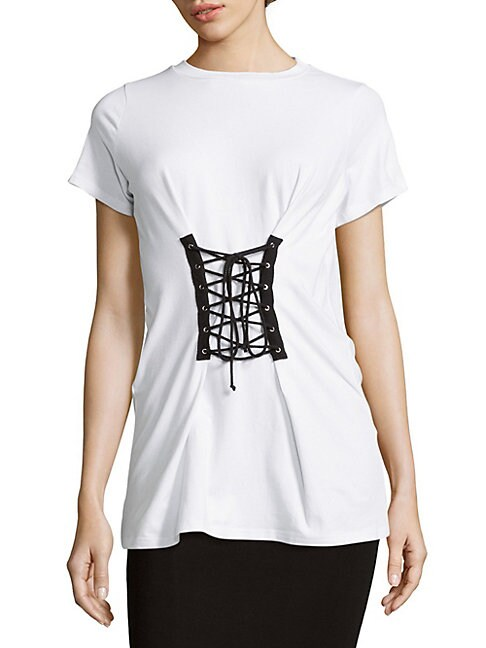 ALISON ANDREWS | Lace-Up Front Tee | Goxip