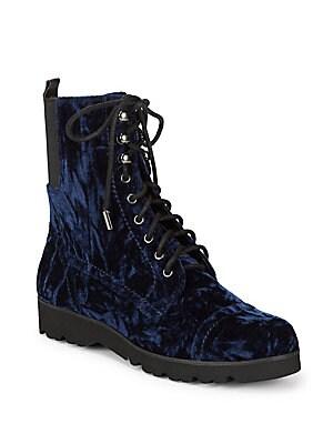 Carmen Velvet Combat Boots
