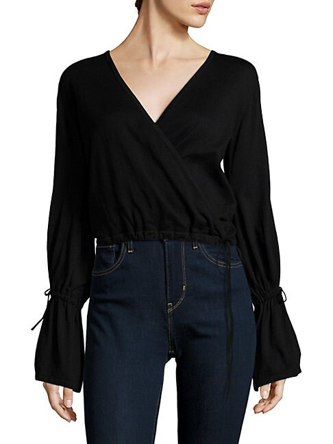 Faux Wrap Cotton Blouse