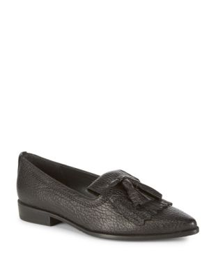Avatass Point Toe Leather Loafers, Black