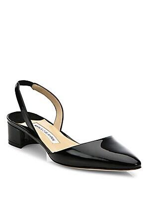 65b60487148 Manolo Blahnik - Aspro Patent Leather Block Heel Slingbacks