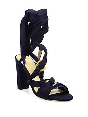 Alessa Silk & Suede Wrap Sandals