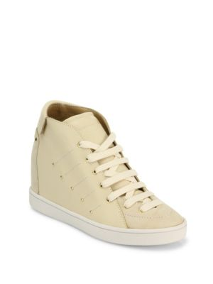 daa0837f76 Giuseppe Zanotti Soma 50 Leather High-Top Wedge Sneakers In Tapioca