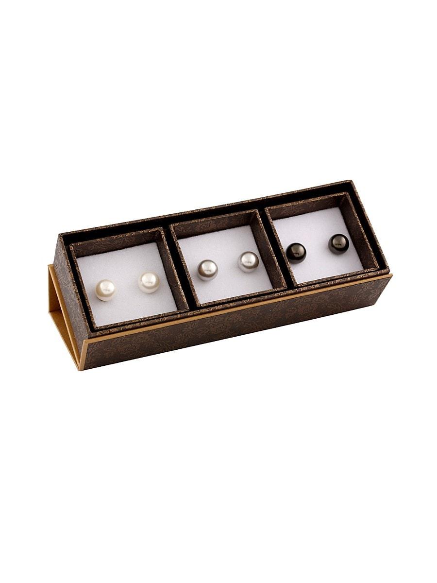 Pearls 9-9.5MM Button Pearl & Sterling Silver Earrings Set