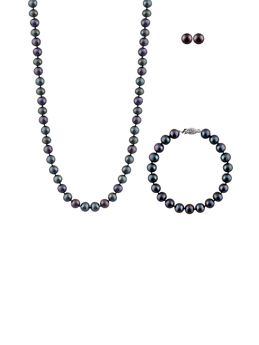 Pearls 7-8MM Black Pearl & Sterling Silver 3-Piece Set