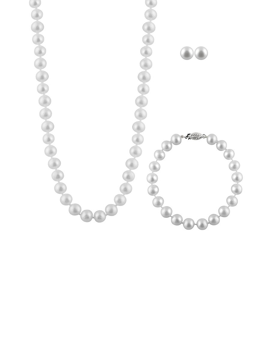 Pearls 7-8MM White Pearl & Sterling Silver 3-Piece Set
