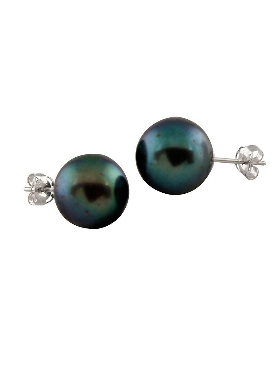 Pearls 10-10.5MM Peacock Pearl & 14K White Gold Stud Earrings