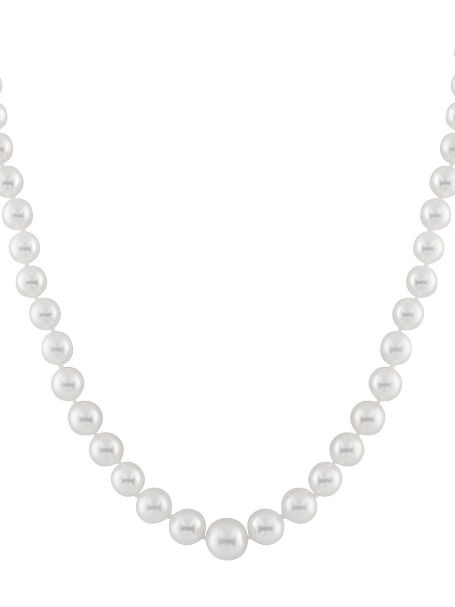 Pearls 4-9MM White Pearl & 14K Yellow Gold Necklace
