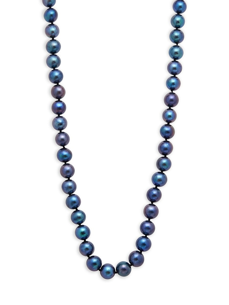 14K Yellow Gold & 8-8.5MM Blue Cultured Freshwater Pearl Strand Necklace