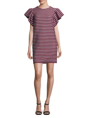 Peserico  Striped Ruffle Sleeve Dress