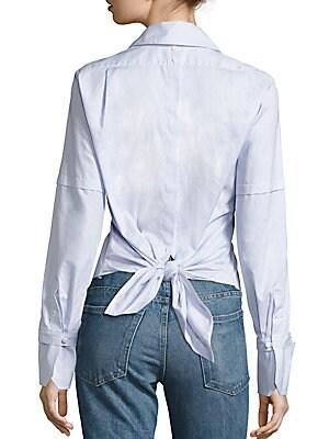 Cotton Poplin Tie-Back Tuxedo Shirt