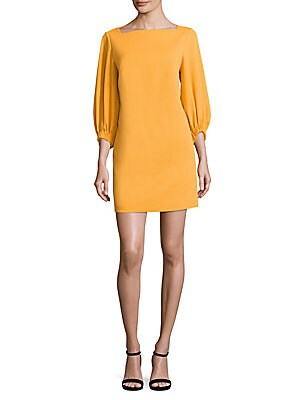 Crepe Boatneck Shift Dress