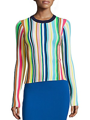 Vertical Striped Rainbow Pullover
