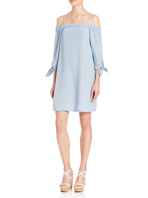 ELLA MOSS   Cold-Shoulder Chambray Dress   Goxip