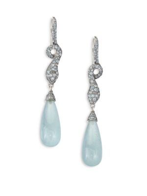 John Hardy  Legends Cobra Batu Diamond, Milky Aquamarine, Swiss Blue Topaz & Sterling Silver Drop Earrings