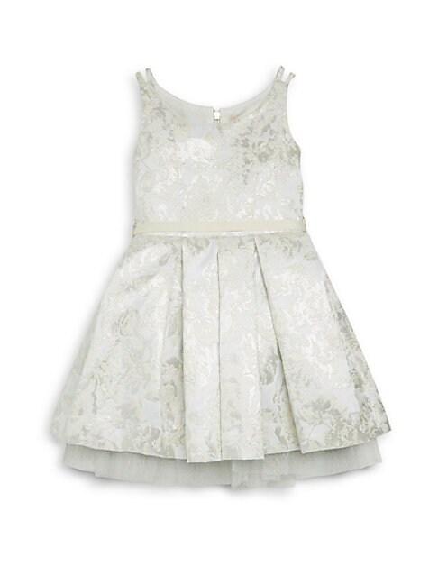 Girl's Ella Feather Trim Brocade Dress