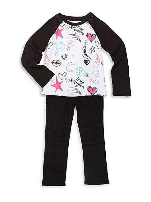 LITTLE GIRL'S TWO-PIECE TEE & JEANS SET