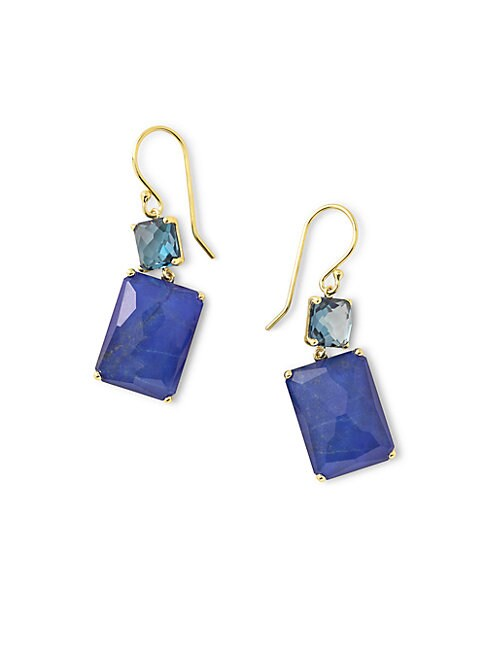 Rock Candy 18K Gold Rectangular Drop Earrings