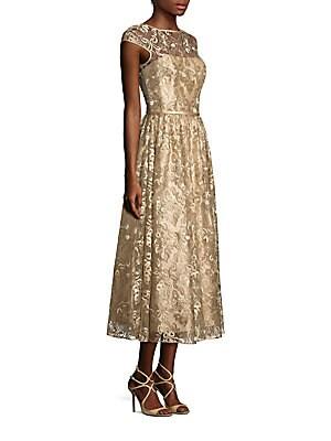 Metallic Embroidered Midi Dress