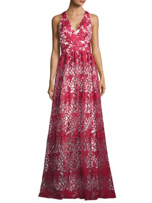 Theia  FLORAL EMBROIDERED OVERLAY GOWN