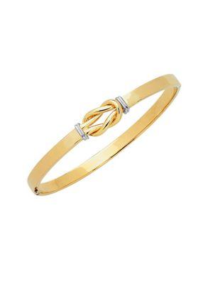 Saks Fifth Avenue  14K Two-Tone Gold Knot Bangle Bracelet