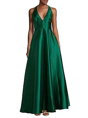 Plunge Floor-Length Dress