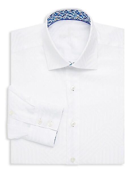 BERTIGO | Cotton Tonal Geometric Print Dress Shirt | Goxip