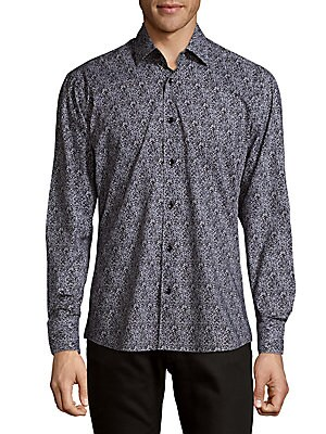 Cotton Static Button-Down Shirt