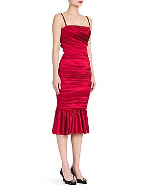 Ruched Stretch Satin Dress