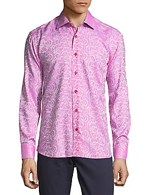 Cotton Paisley Button-Down Shirt