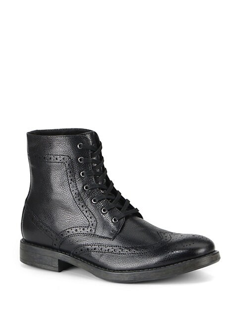Baycliff Leather Wing-Tip Combat Boots