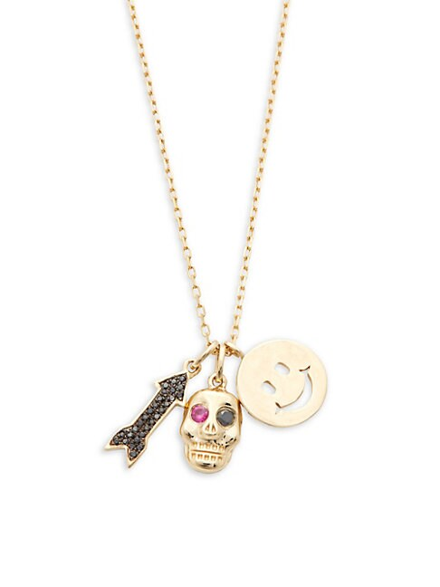 CASA REALE | 14K Yellow Gold & Diamond Arrow, Skull and Smiley Face Charm Necklace | Goxip