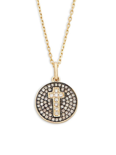 CASA REALE | 14K Yellow Gold & Diamonds Cross Disc Pendant Necklace | Goxip