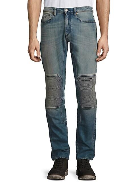Blackrod Straight-Fit Faded Moto Jeans
