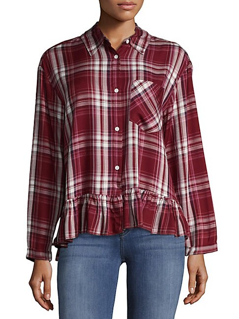 Dolman Sleeve Plaid Shirt
