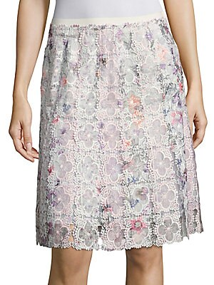 Tyler Printed Floral Lace Skirt