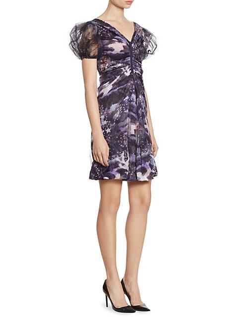 GIORGIO ARMANI   Full Sleeve Silk Charmeuse V-Neck Dress   Goxip