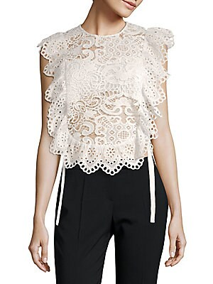 Cotton Scalloped Lace Top