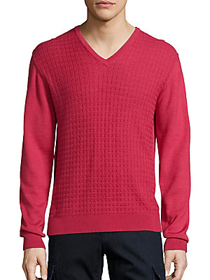 COLLECTION Jacquard V-Neck Wool & Silk Sweater