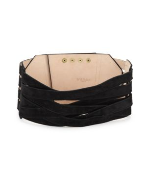 Balmain  WIDE CRISSCROSS LEATHER BELT