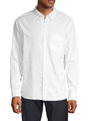BALDWIN Splatter-Print Button-Down Shirt in White