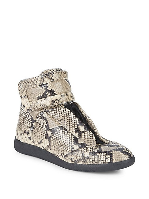 Python-Embossed Leather Sneakers