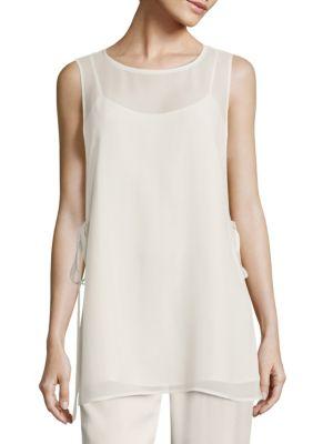 Eileen Fisher  Silk Georgette Side-Tie Top