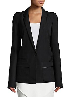 Ruffled Button-Front Wool-Silk Blazer