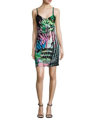 Galaxy Embellished Silk Slip Dress, Black Multi